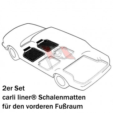Peugeot Partner Kastenwagen Bj. 05.08-18, carli liner Schalenmatten für Fußraum vorne