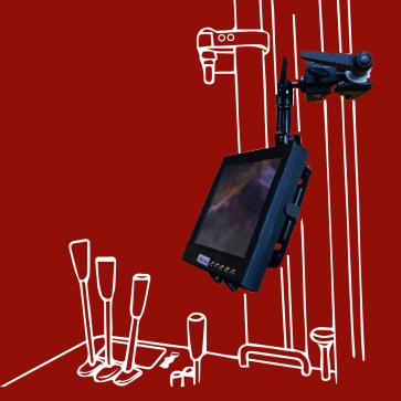 """Halter mit Super-Klemme - Befestigung an Trägern und Stangen, für Tablets 7""""-16"""", Netbook und Kamera, DO-J"""