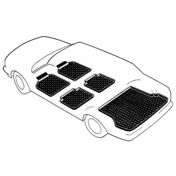 VW Polo Classic 4-türig Bj. 08.99-09.01, rensi Schalenmatten für Fußraum vorne + hinten und topfit Kofferraumwanne