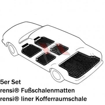 Peugeot 307 Break Bj. 04.02-07, rensi Schalenmatten für Fußraum vorne + hinten und rensi liner PREMIUM Kofferraumwanne