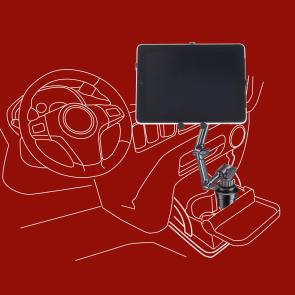 iPad Halter, KFZ-Tablethalter zur Befestigung im Getränkehalter für Auto, KFZ, LKW, Caravan, DO-U