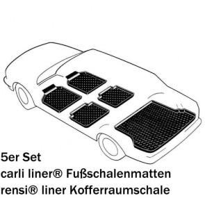 Kia Sportage (SL) Bj. 09.09-15, carli liner Schalenmatten für Fußraum vorne + hinten und rensi liner PREMIUM Kofferraumwanne